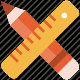 creative, pencil, ruler, tool icon