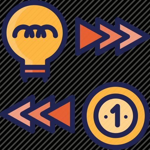 business, creative, exchange, idea, income, money icon