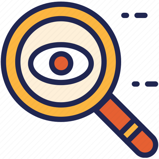 eye, find, glass, magnifier, search, tool, zoom icon