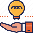 creative, hand, ideas, startup, tool icon