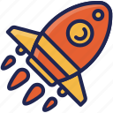 business, creative, launch, rocket, space, startup, tool icon
