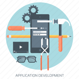 application, cellphone, development, mobile phone, research, technology, tools icon