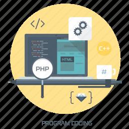 clean code, coder, coding, computer, css, program, web design icon