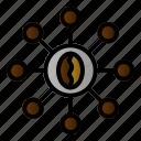 business, coffee, link, organization icon
