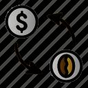 coffee, exchange, money, transaction icon