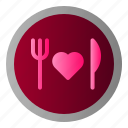 food, fork, knife, love icon