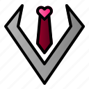 love, man, suite, tie icon