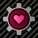 gear, gear heart, love, married icon