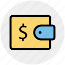 cash in wallet, dollar in wallet, money in wallet, pocket money, purse, wallet icon