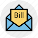 bill email, bill in letter, email, invoice, letter, letter envelope, message icon