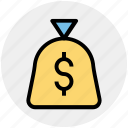cash, cash bag, dollar, money, pay, payment, sack of money icon