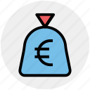 cash, cash bag, euro, money, pay, payment, sack of money icon