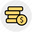 coins, currency, dollar, dollar coins, money icon