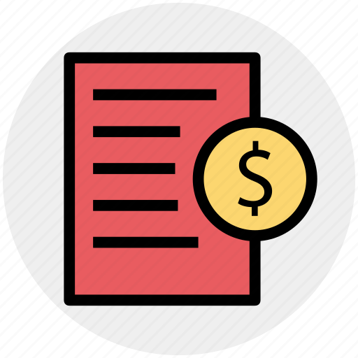 document, dollar sign, file, page, paper icon