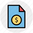 bill, currency, document, dollar sign, file, money, paper icon