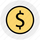 coin, currency, dollar, dollar sign, dollar value, finance, money icon