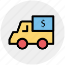 currency, dollar, dollar van, money, truck, van icon