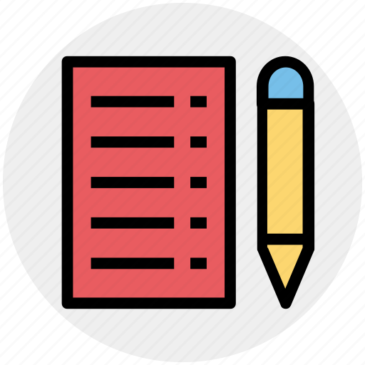 document, lead pencil, note, pencil and paper, sheet, write icon