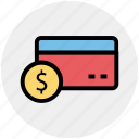 consumer card, credit card, debit card, dollar sign on card, payment card icon