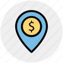 bank location, business gps, finance area, map pin, navigation icon