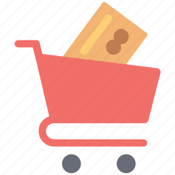 bank card, card in cart, credit card, online shopping, payment card, shopping with credit card, shopping with debit card, shopping with plastic card icon
