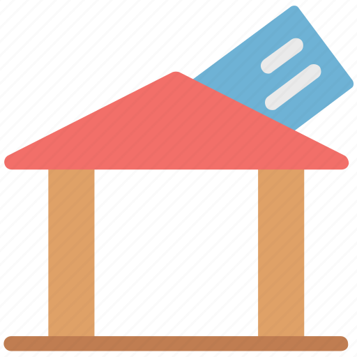bank card, credit card with home, debit card, home with card, payment card, plastic card icon