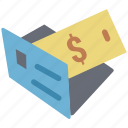 cash envelope, cash folder, dollar folder, folder, money envelope, payment enlop icon