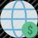 dollar sign, financial, financial network, global currency, global finance, globe, network, worldwide icon