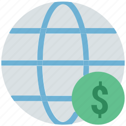 dollar sign, financial, financial network, global currency, global finance, globe, network, worldwide icon
