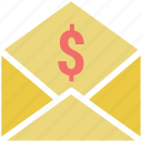 email, envelope, letter, letter envelope, letter pack with dollar sign, message, newsletter, post icon