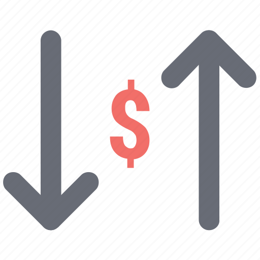 currency, dollar, loss, profit, profit and loss, ups and down profit icon
