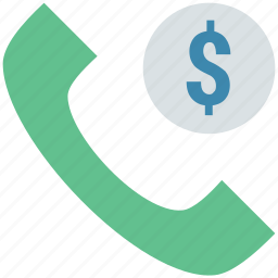 business support, call, customer support, finacial support, phone with dollar sign, receiver icon