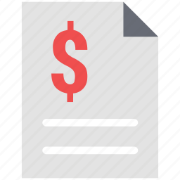 contract, dollar paper, dollar sign on paper, financial paper, longterm, paper, payment paper, sheet icon