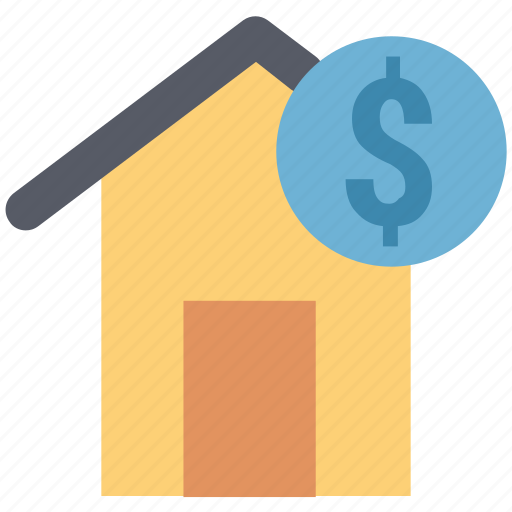 bank, home, home with dollar, house, house with dollar, invest house, trade center icon