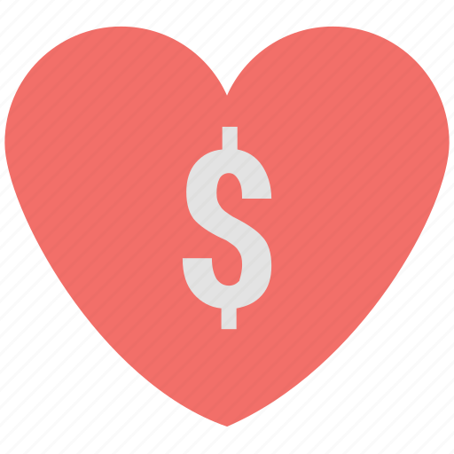 dollar, dollar heart, dollar like, dollar on heart, dollar sign icon