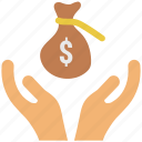 cash in sack, dollar, dollar in sack, earning, payment, sack, sack dollar, successful in business icon