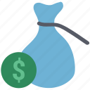 cash in sack, dollar, dollar in sack, earning, payment, sack, sack dollar icon