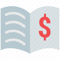 business book, business learning book, dollar sign on book, entrepreneurship, finance book, investment book icon