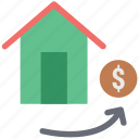 bank, dollar sign, financial home, home, house, trade home icon
