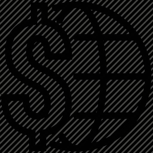 dollar, investment, world trading, worldwide, worldwide business, worldwide finance icon