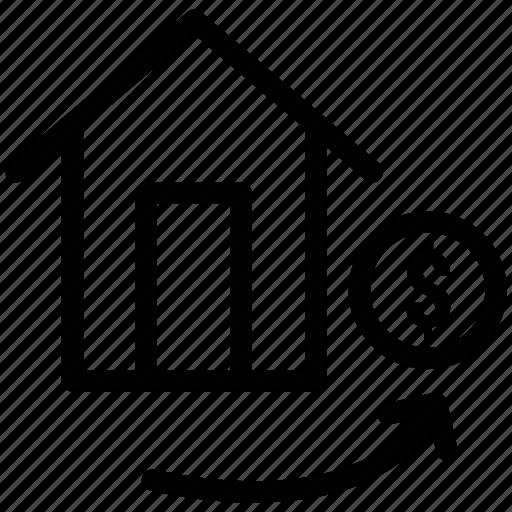 bank, dollar sign, financial home, home, house, trade home icon