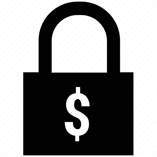 dollar, finance, financial security, lock, lock and security, security icon