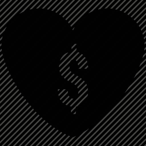 dollar, dollar heart, dollar like, dollar on heart, dollar sign icon