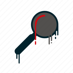 blood, dripping, liquid, magnifying glass, melting, searching icon