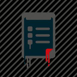 blood, checklist, clipboard, dripping, liquid, melting, survey icon