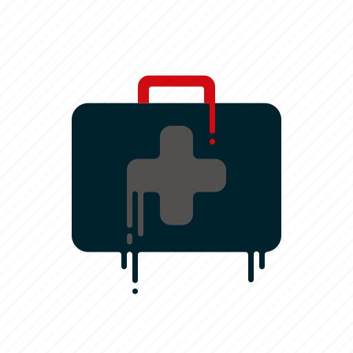 blood, dripping, first aid kit, help, liquid, melting, suitcase icon