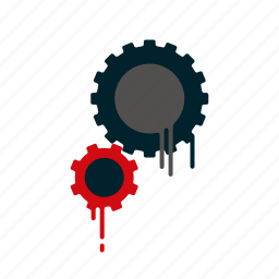 blood, cogs, dripping, gears, liquid, melting, settings icon
