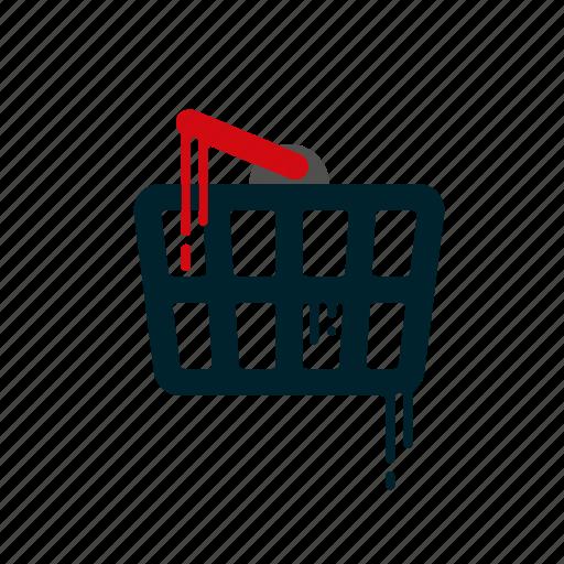 basket, blood, dripping, liquid, melting, shop, shopping icon