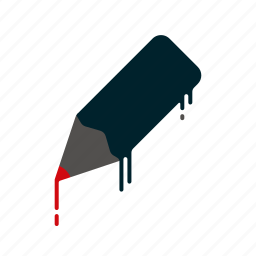 blood, dripping, liquid, melting, pen, pencil, writing icon