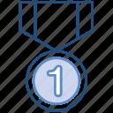 1st position, award, cricket, medal, prize, winner icon